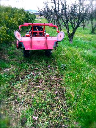 トラクター後。土の状態