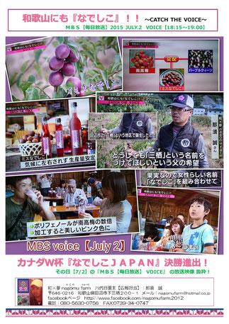 mbs voice【7/2放送】 和歌山にも『なでしこ』!!