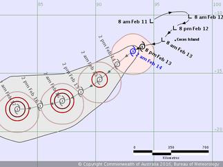 Tropical Cyclone Uriah track map (14/02/2016), from www.bom.gov.au
