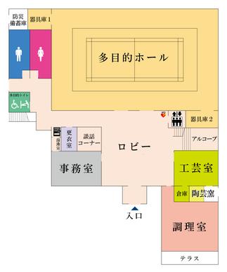 コミュニティセンターの1Fフロアマップ