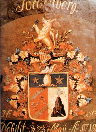 スウェーデンボルグの紋章「火山・矢・星・ライオン・鍵・波」