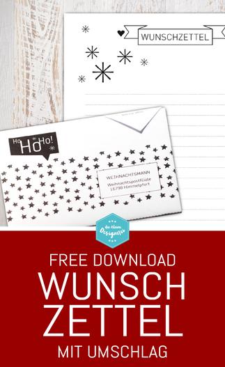 Wunschzettel mit Umschlag einfach downloaden, ausdrucken und falzen. Ein schöner, schlichter Wunschzettel für Weihnachten in schwarzweiss. Noch mehr Freebies zum download unter www.die-kleine-designerei.com