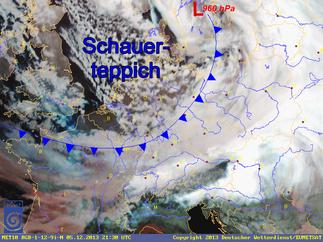 Satellitenbildquelle: DWD | Postfrontaler Schneeschauerteppich.