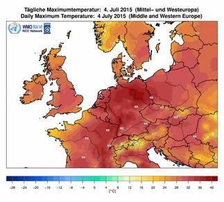 Abb. 1 | Höchstwerte von über 38°C am 04. Juli 2015 in Mitteleuropa. | Bildquelle/Source: Deutscher Wetterdienst