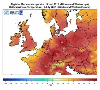 Abb. 2 | Höchstwerte von bis zu 40°C am 05. Juli 2015 in Mitteleuropa. | Bildquelle/Source: Deutscher Wetterdienst