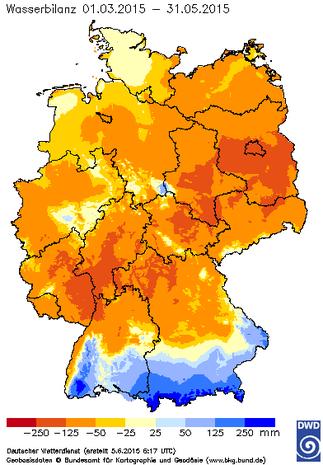 Abb. 3 | Klimatische Wasserbilanz vom 01.03.2015 bis 31.05.2015 in Deutschland.  | Bildquelle/Source: Deutscher Wetterdienst