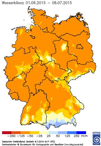 Abb. 4 | Klimatische Wasserbilanz vom 01.06.2015 bis 08.07.2015 in Deutschland. | Bildquelle/Source: Deutscher Wetterdienst