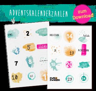 24 Adventskalenderzahlen Freebie zum Download, Zahlen in Türkis und Petrol mit Aquarell-Hintergrund von LYBSTES.