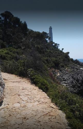 Le sentier vers la Mer, dominé par le  Phare.