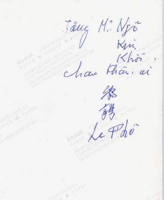 """DEDICACE DE LE PHO : """" A NGO KIM-KHÔI, MON TRES CHER NEVEU """"."""