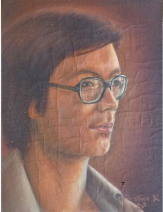 SAIGON 1982. PORTRAIT DE KIM KHÔI PAR VO QUÔC BINH. HUILE. COLLECTION NGÔ K.K.