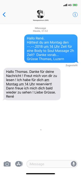 Massagezeitraum, Bild,  SMS, Mitteilung, iMessage, Reservation, Telefon, Text