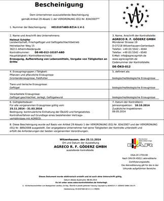 Bescheinigung nach EG-Bioverordnung: Helmut Schäfer Geflügelschlachtbetrieb in Niedergude