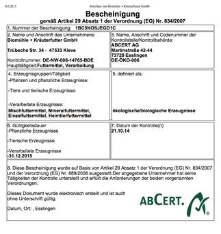 Zertifikat unseres Partners Biomühle und Kräuterfutter
