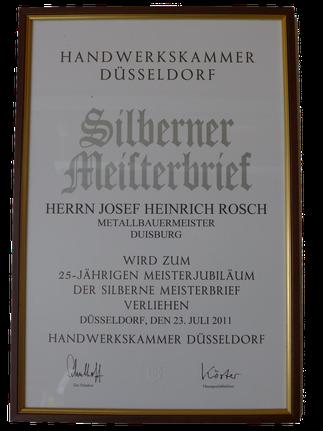 Silberner Meisterbrief