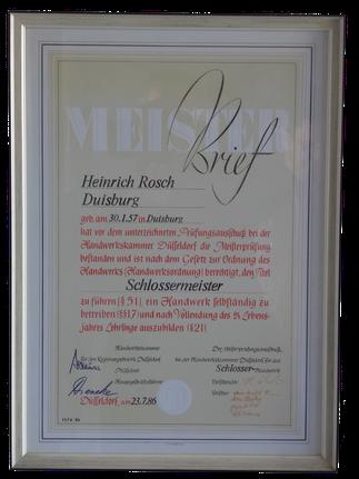 Schlossermeister Heinrich Rosch