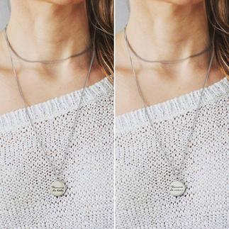 Collier minimaliste à breloque double face Femme de Tête / Coeur