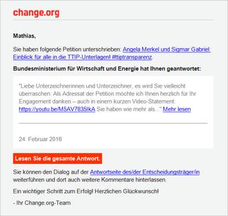 Zur REAKTION DES ENTSCHEIDUNGSTRÄGERS