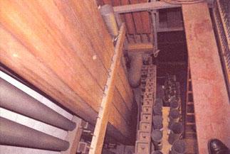 zusammengeschobene Alt-Pfeifen, Klais-Orgel, Hl. Dreifaltigkeit, Orgelförderverein