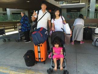 ハワイ オアフ島 ホノルル空港ーワイキキ間の空港送迎、ワイキキからアウラニディズニー送迎、素敵なご夫婦と女の子供さん