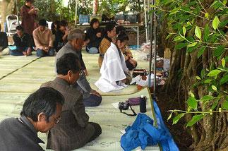 神司の石垣さん(奥)を中心に、厳かに種取り祭の神事が営まれた=米為御嶽、登野城