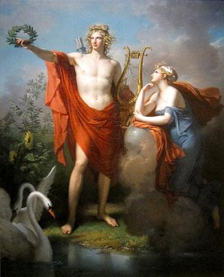 Apollon brandissant une couronne de Laurier noble - Peinture de Charles Meynier : Apollon et Ouranie