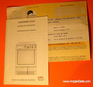 garantías manual de instrucciones - www.AorganiZarte.com