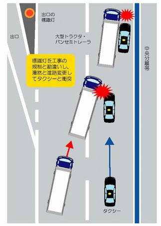 阪神高速でタクシーと衝突事故