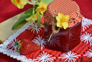 Erdbeermarmelade ohne Zucker, zuckerfreie Marmelade, zuckerfreier Brotaufstrich