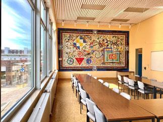 """Wandbild """"Mosaik"""" von Eugenia Schuffert Danu - Kunst im öffentlichen Raum in Bremen Obervieland (Foto: 06-2020, Jens Schmidt)"""