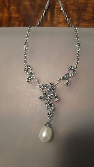 Markasit Collier mit Perle in 925´er Silber