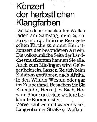 Ankündigung Erbenheimer Anzeiger 17.10.2014