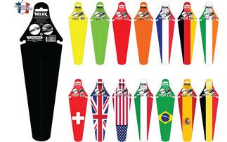 Velox bietet Schutzbleche mit Nationalflaggen als Motiv