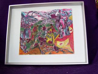 Übersiedelungsbilder,  Mischtechnik auf Karton mit Rahmen 33x27,5 cm