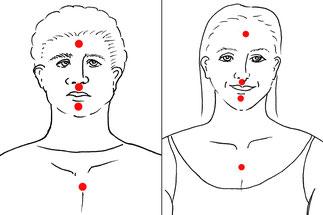 Zeichnung der vier Notfall-Klopfpunkte