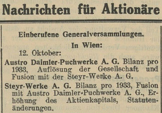 Quelle: Österr. Nationalbibliothek, Die Börse, 27. September 1934