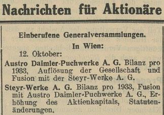 Quelle: Österr. Nationalbibliothek, Die Börse, 27. September 1934