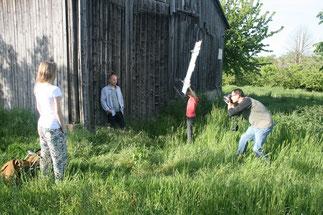 Den Lanvall vor der Linse: Christian mit Assistenten Aaron und Amelie