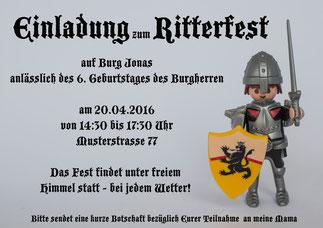 Kindergeburtstag Einladung Ritter