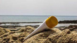 Strand Sand Creme Sonnenschutz
