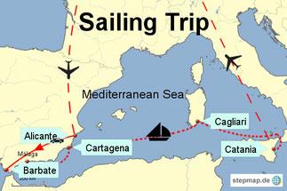 Bild: Karte unseres Segeltrips durch das Mittelmeer von Barbare in Spanien bis Catania auf Sizilien