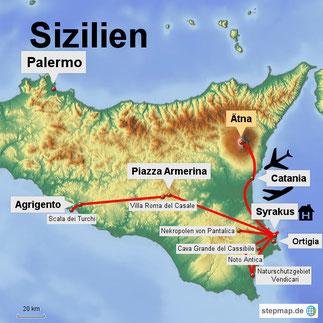 Bild: Karte von Sizilien mit unseren Ausflügen