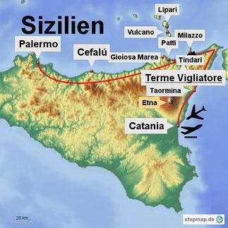 Bild: Karte von Sizilien mit unseren Ausflügen im Norden und Nord-Osten
