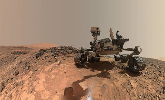 Looking Up at Mars Rover Curiosity in 'Buckskin' Selfie - Credit: NASA/JPL-Caltech/MSSS