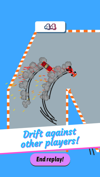 Drifting around a corner in Elite Drift with indicators showing where racers have crashed