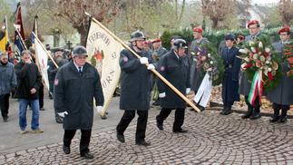 Die Fahnenabordnungen der Walldürner Vereine beim Einmarsch.