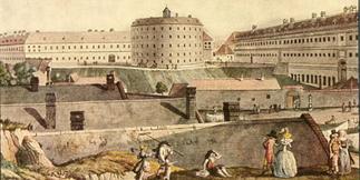 Das Wiener allgemeine Krankenhaus mit dem Narrenturm. Copyright: IMAGNO/Wien Museum**
