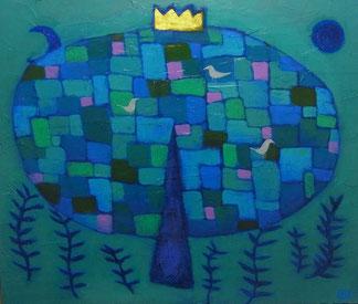 「青い木」アクリル絵の具、パネルF20号