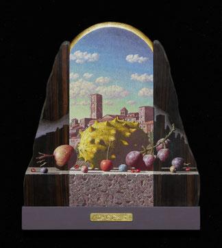 「彷徨う雲と果実の風景」27.0×23.0㎝テンペラ、油彩、木、パネル、布、箔、291600円