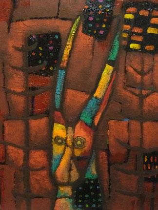 「深層の鹿」アクリル絵の具、パネルP10